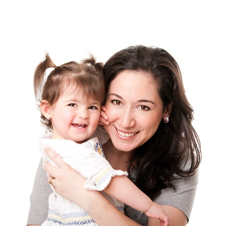 Beautiful happy smiling mother and baby toddler daughter family together, isolated. Stock Photo