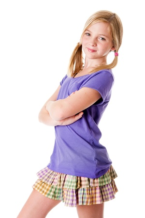 Beautiful happy cute teenager girl with skirt and purple shirt summer fashion, isolated.