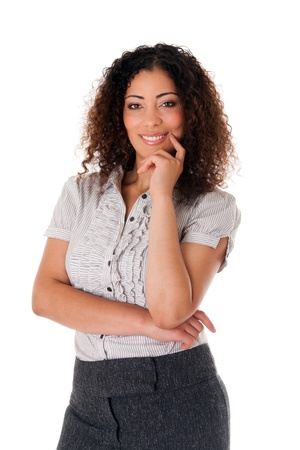 latina girl: Happy smiling formal corporate business woman with curly hair full confidence standing, isolated.
