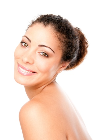 Happy smiling woman with pimple acne free healthy skin showing shoulder and back, skincare concept, isolated.