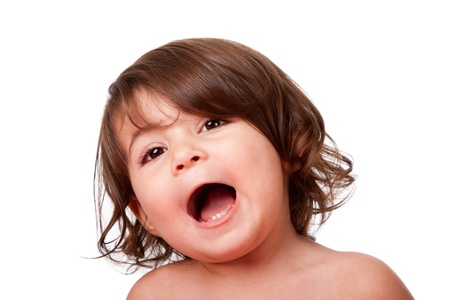 Cute funny singing baby toddler, yelling or screaming of happiness, with mouth open, isolated.