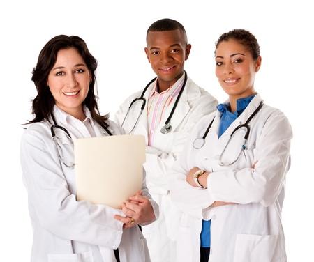Happy lachende arts arts verpleegkundige medisch team zich verenigt, geïsoleerd.