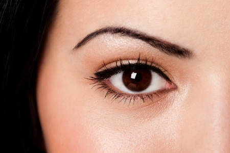 Beautiful female eyebrow and brown eye with lashes on fair skin. photo