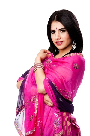 bengali: Beautiful Bengali Indian Hindu woman in colorful dress standing, isolated