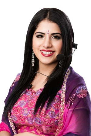 customer service representative: Beautiful Happy Indian Hindu Business Customer Service Representative at call center with headset microphone, isolated. Stock Photo