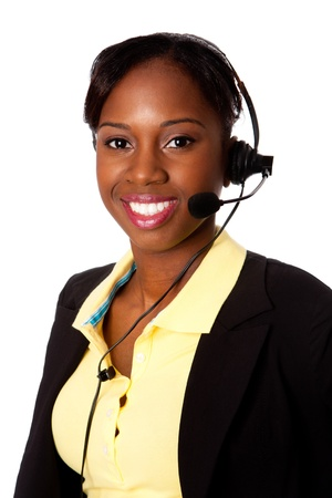representatives: Beautiful happy smiling African business woman customer service representative operator, isolated.