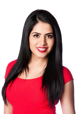 Mooie jonge aantrekkelijke vrouw met rode lippenstift en lang haar, geïsoleerd. Stockfoto