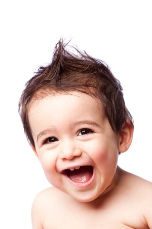Cute happy smiling laughing toddler boy with mohawk gel hairstyle and open mouth, childhood concept, isolated.