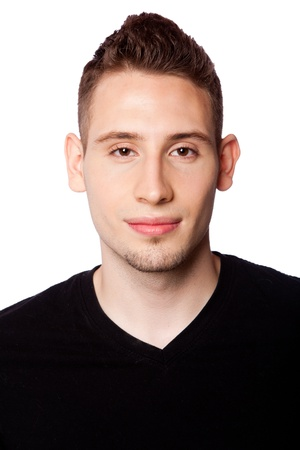 Face of handsome young man in black shirt, isolated.