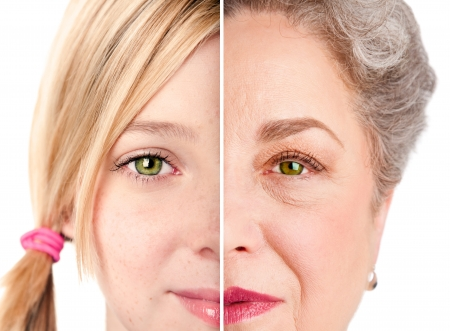 aging: Beautiful watchful eye of a healthy girl and senior woman, ageing concept, isolated.