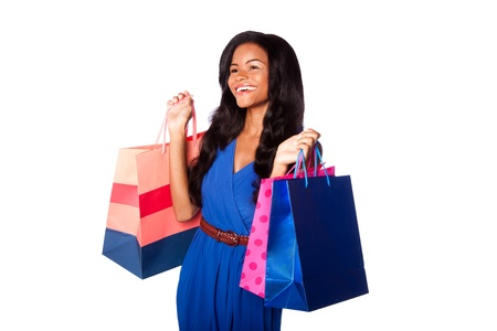 shoppingbags: Beautiful happy smiling fashion woman shopping with bags, wearing blue dress and belt, on white