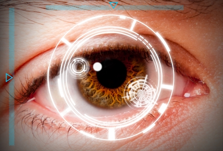Futuristic biometric scan of the eye iris for security and high level clearance.