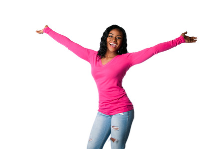 welcoming: Beautiful happy smiling young woman with open arms welcoming celebrating cheering, isolated.