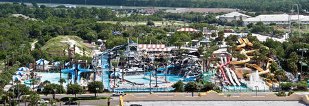 destin: Destin, FL, USA - July 24 2014: Big Kahuna water theme park with slides and attractions in Destin, FL.