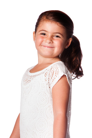 Beautiful happy smiling young girl with ponytail, isolated. photo