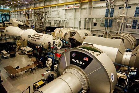휴스턴, 텍사스, 미국 - 2015년 1월 23일 : 휴스턴, 텍사스에서 국제 우주 정거장 존슨 우주 센터 모형 시설. 에디토리얼