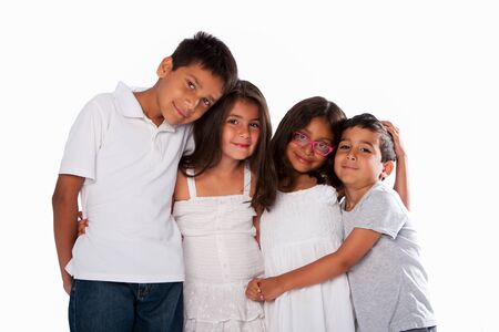 brothers and sisters: Family of happy brothers and sisters, together on white.