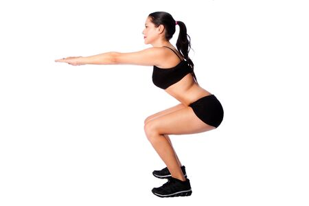 Beautiful woman training squats sport fitness gym workout exercise, lifestyle bodycare concept.