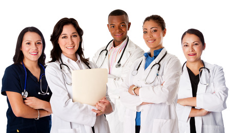medical practitioner: Happy smiling doctor physician nurse practitioner medical team standing together, on white. Stock Photo