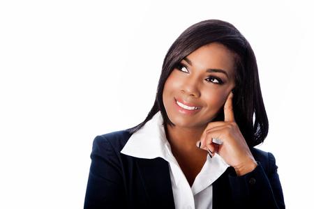 幸せな笑みを浮かべて思考アイデア ビジネス上美しい女性、白の顔。
