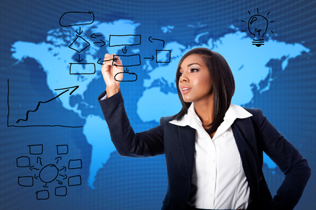 reorganization: Beautiful female business woman consultant providing global reorganization strategy solution ideas concept. Stock Photo