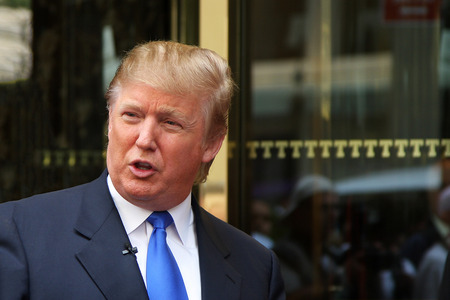 New York, NY, USA - Aug 3 2008: Donald Trump recording on 5th Avenue in front of Trump Tower in New York City.