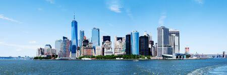 Panorama of Landmark New York City Manhattan Skyline and World Trade Center Freedom Tower. Stock Photo