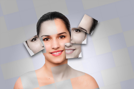Beautiful happy healthy woman with clean skincare square puzzle face concept. Imagens