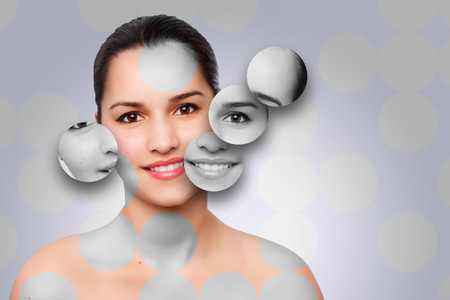 Beautiful happy healthy woman with clean skincare circle puzzle face concept.