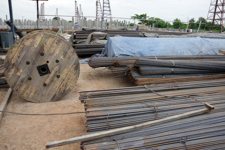 Steel rods and Iron wire in roll on construction Site.