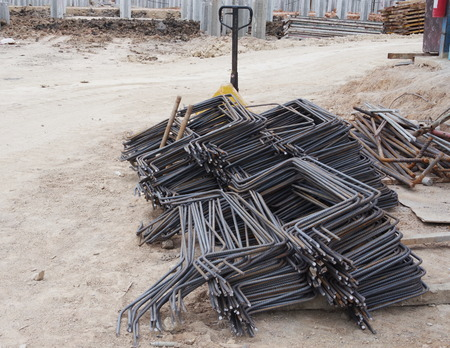 Steel rods on construction Site Stock Photo