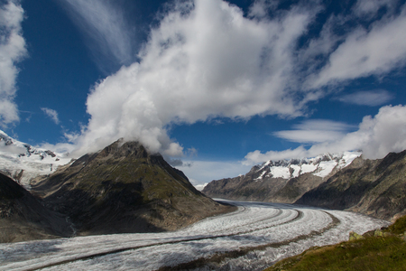 aletsch: Glacier Aletsch with blue sky and clouds