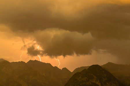 lightnings: Lightnings in the mountains in red sky