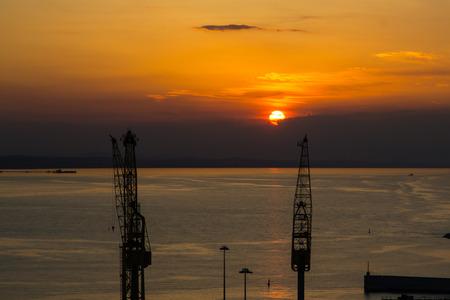 Gru nel porto durante il tramonto