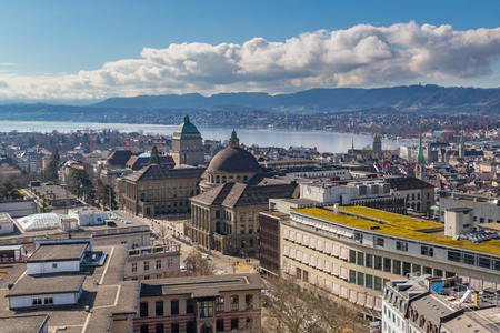 center of city of zurich from above, lake, mount albis