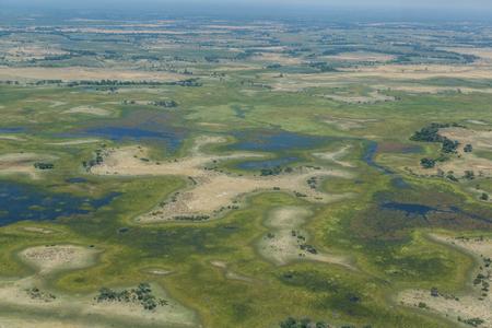 aerial view on green natural Okavango Delta landscape Imagens