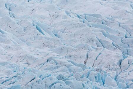 close-up crevasses of white Vatnajokull glacier in Iceland
