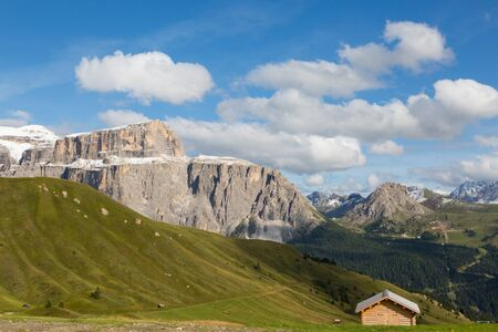 snow-capped Piz Boe mountain of Dolomite Sella group, green meadow
