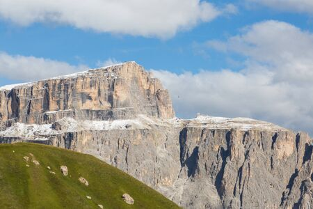 snowcapped Sella group in Dolomites, ropeway