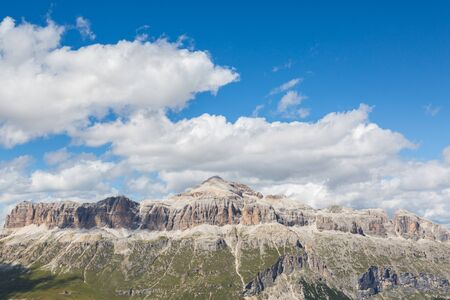 Sella group in Italian Dolomites with Piz Boe mountain summit Imagens - 131232887