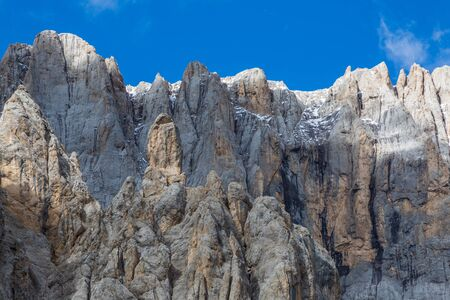 natural south face of Marmolada mountain in italian Dolomites, blue sky