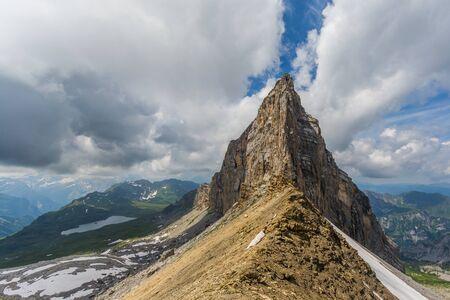 Barglen mountain summit and Melchsee near Melchsee-Frutt in summer Imagens - 131598025