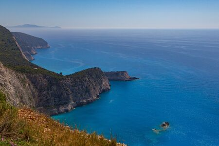 natural west coast of  Lefkada island in Greece with blue sea and sky Imagens