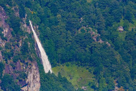 view from above on waterfall near Foroglio in Val Bavona valley in Ticino Switzerland