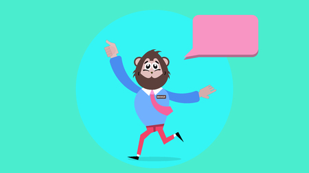 turn of the year: The Year of Monkey, Monkey Turn, Monkey Running with Happy Face Illustration