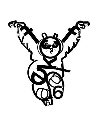 kungfu: Funny Panda Doing Martial Arts, Panda Creating by Letters