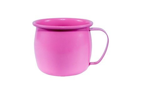 unbreakable: Pink metal mug isolated on white