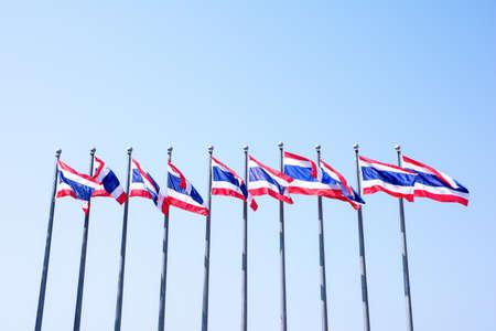 flag pole: Ten flag pole of Thailand on blue sky background,Many Thai flags pole