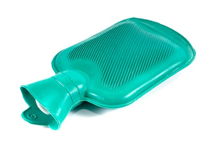 Green silicone hot water bottle on white background,Hot water bag Banque d'images