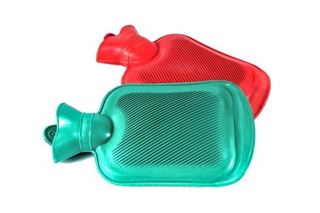 Two silicone hot water bottle on white background,Hot water bag Stock Photo